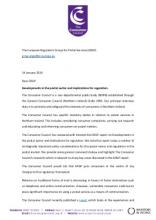 EGRP Letter - Developments in the postal sector and implications for regulation