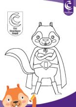 Squirrel mascot colouring sheet